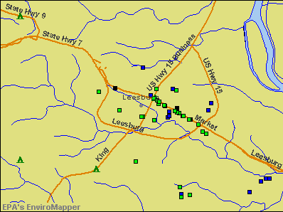 Leesburg, Virginia environmental map by EPA