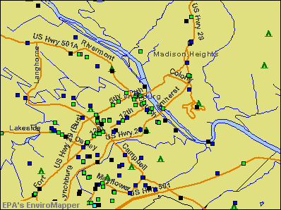 Lynchburg, Virginia environmental map by EPA