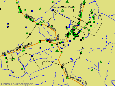 Manassas, Virginia environmental map by EPA