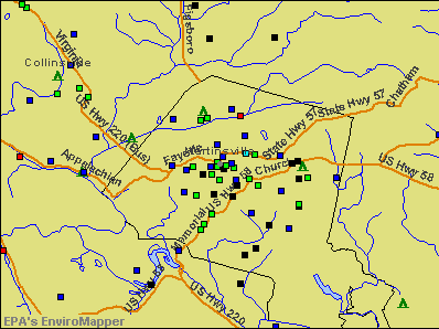 Martinsville, Virginia environmental map by EPA
