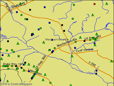 Mechanicsville, Virginia environmental map by EPA