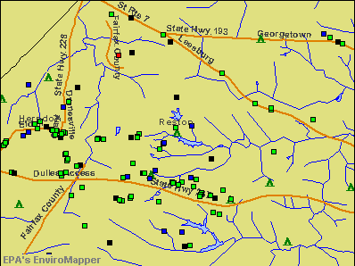 Reston, Virginia environmental map by EPA