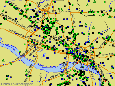 Richmond, Virginia environmental map by EPA