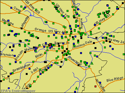 Roanoke, Virginia environmental map by EPA