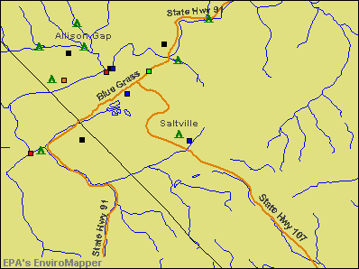 Saltville, Virginia environmental map by EPA