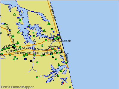 Virginia Beach, Virginia environmental map by EPA