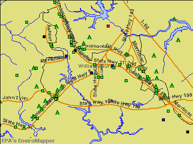 Williamsburg, Virginia environmental map by EPA