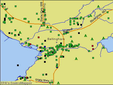 Bellingham, Washington environmental map by EPA