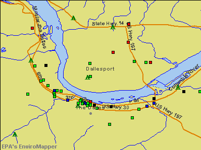 Dallesport, Washington environmental map by EPA