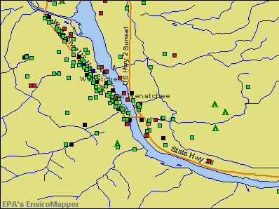 East Wenatchee, Washington environmental map by EPA