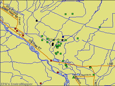 Ellensburg, Washington environmental map by EPA