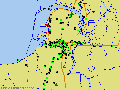 Everett, Washington environmental map by EPA