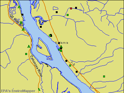 Kalama, Washington environmental map by EPA