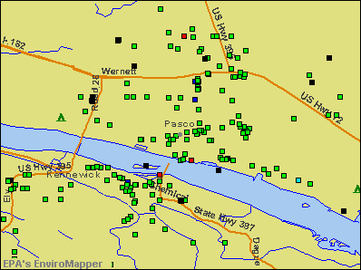 Pasco, Washington environmental map by EPA