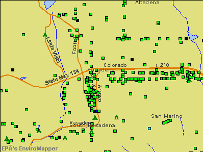 Pasadena, California environmental map by EPA
