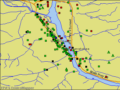 Wenatchee, Washington environmental map by EPA