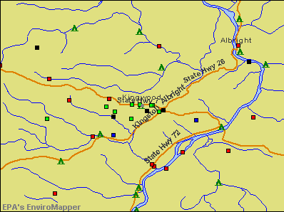 Kingwood, West Virginia environmental map by EPA