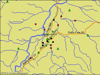 Moorefield, West Virginia environmental map by EPA