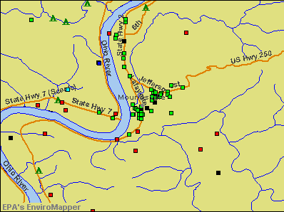 Moundsville, West Virginia environmental map by EPA