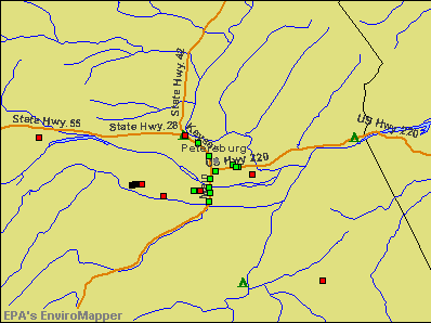 Petersburg, West Virginia environmental map by EPA
