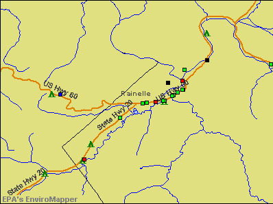 Rainelle, West Virginia environmental map by EPA