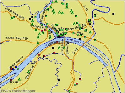 Williamstown, West Virginia environmental map by EPA