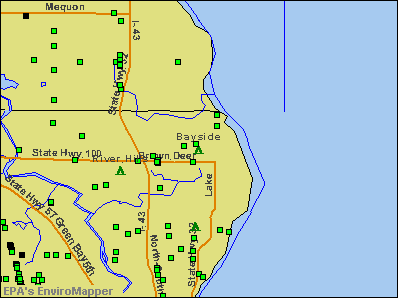 Bayside, Wisconsin environmental map by EPA