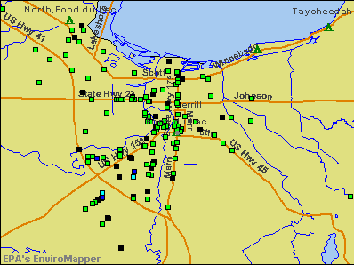 Fond du Lac, Wisconsin environmental map by EPA