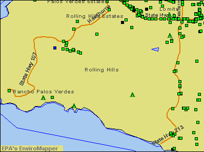 Rolling Hills, California environmental map by EPA