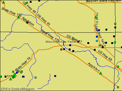 Menomonee Falls, Wisconsin environmental map by EPA