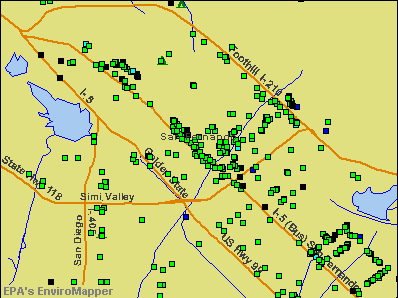 San Fernando, California environmental map by EPA