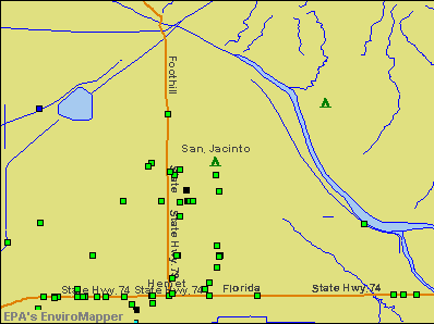 San Jacinto, California environmental map by EPA