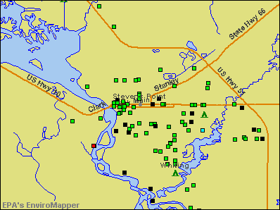 Stevens Point, Wisconsin environmental map by EPA