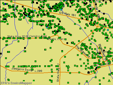 Santa Clara, California environmental map by EPA