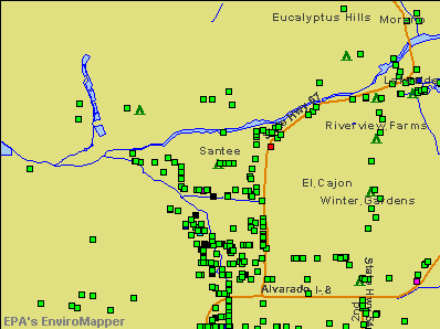 Santee, California environmental map by EPA