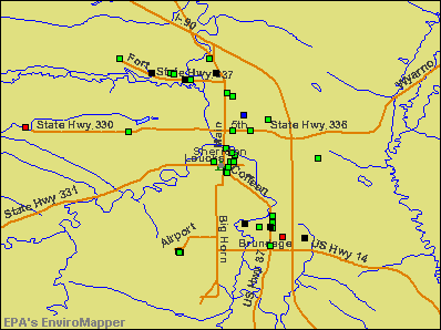 Sheridan, Wyoming environmental map by EPA