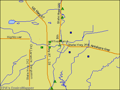 Wheatland, Wyoming environmental map by EPA