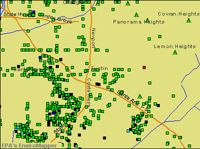 Tustin, California environmental map by EPA