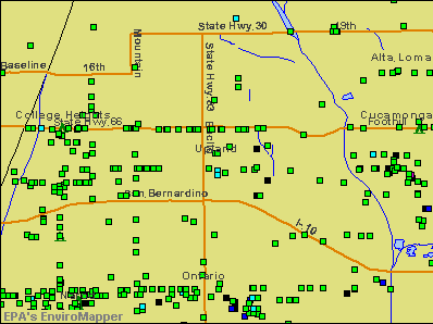 Upland, California environmental map by EPA