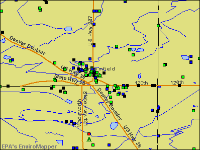 Broomfield, Colorado environmental map by EPA