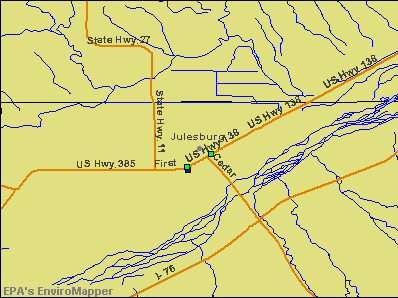 Julesburg, Colorado environmental map by EPA