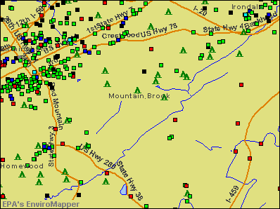 Mountain Brook, Alabama environmental map by EPA