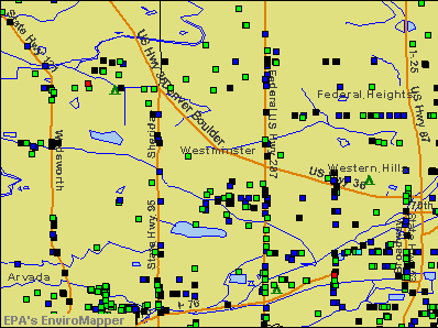 Westminster, Colorado environmental map by EPA