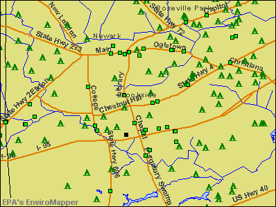 Brookside, Delaware environmental map by EPA