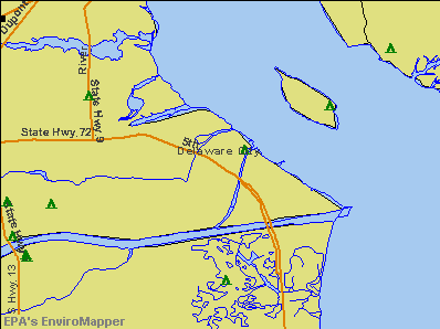 Delaware City, Delaware environmental map by EPA