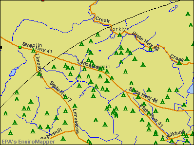 Hockessin, Delaware environmental map by EPA