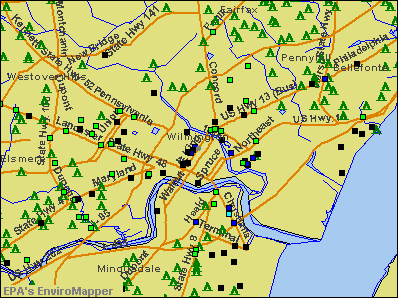 Wilmington, Delaware environmental map by EPA