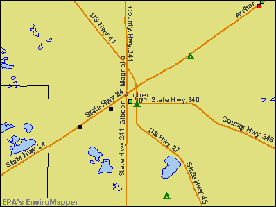 Archer, Florida environmental map by EPA