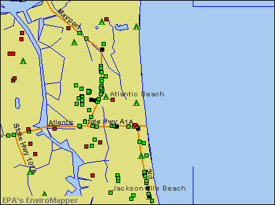 Atlantic Beach, Florida environmental map by EPA