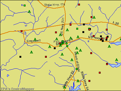Pell City, Alabama environmental map by EPA